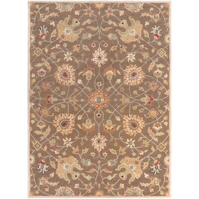 Topaz Dark Brown Floral Area Rug Rug Size: Oval 6 x 9