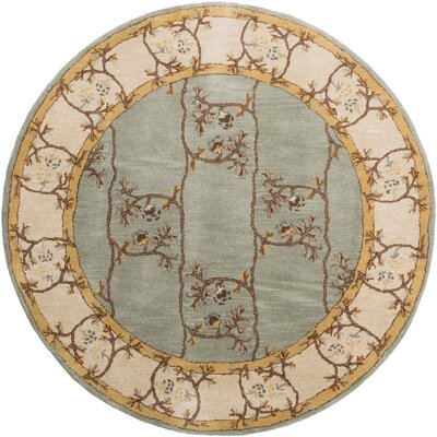Keefer Gray Floral Area Rug Rug Size: Round 6
