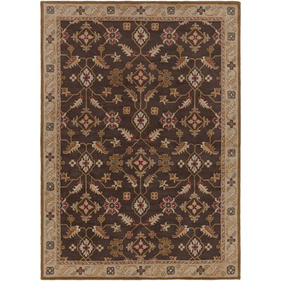 Keefer Espresso/Beige Floral Area Rug Rug Size: Rectangle 5 x 8