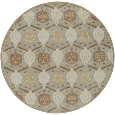 Keefer Olive Gray Area Rug Rug Size: Round 8