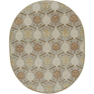 Keefer Olive Gray Area Rug Rug Size: Oval 8 x 10