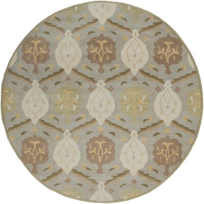 Topaz Olive Gray Area Rug Rug Size: Round 6