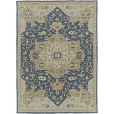 Topaz Hand-Tufte Beige/Navy Area Rug Rug Size: Rectangle 76 x 96