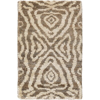 Alexa Hand-Knotted Beige/Mocha Area Rug Rug Size: Rectangle 33 x 53