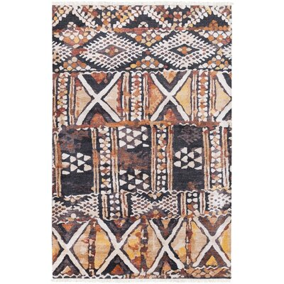 Seline Hand-Knotted Geometric Neutral/Brown Area Rug Rug Size: 4 x 6