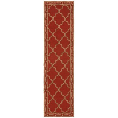 Abboud Floor Tile Hand-Tufted Red/Gold Indoor/Outdoor Area Rug Rug Size: Runner 2 x 8