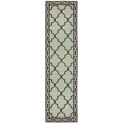 Abboud Floor Tile Hand-Tufted Aqua/Brown Indoor/Outdoor Area Rug Rug Size: Runner 2 x 8