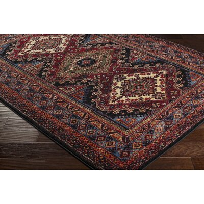 Brahim Red/Black Area Rug Rug Size: Rectangle 93 x 126