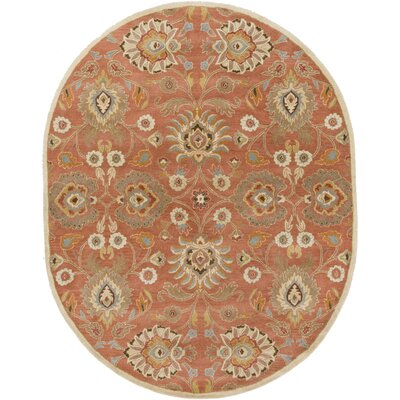Phoebe Burnt Orange Hand-Woven Wool Area Rug Rug Size: Oval 8 x 10