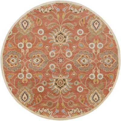 Phoebe Burnt Orange Hand-Woven Wool Area Rug Rug Size: Round 4