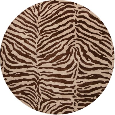 Bayport Hand-Tufted Chocolate Area Rug Rug Size: Round 8