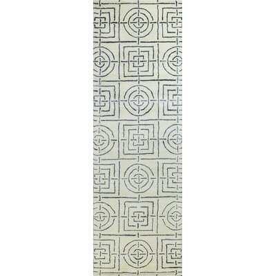 Ryleigh Hand-Tufted Geometric Ivory Area Rug Rug Size: Runner 26 x 8