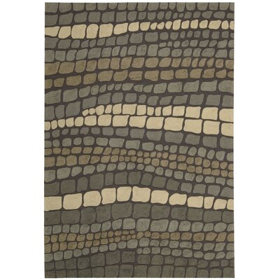 Velez Hand-Woven Green/Ivory Strip Area Rug Rug Size: Rectangle 26 x 4