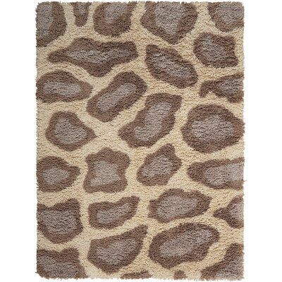 Ramona Hand-Tufted Ivory/Brown Area Rug Rug Size: 5' x 7'