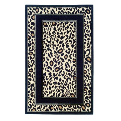Allicia Black/Ivory Animal Print Area Rug Rug Size: 73 x 43