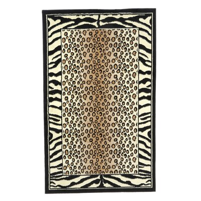 Allicia Black/Ivory Area Rug Rug Size: 73 x 43