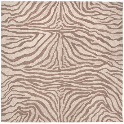Potomac Brown Zebra Outdoor Rug Rug Size: Square 8