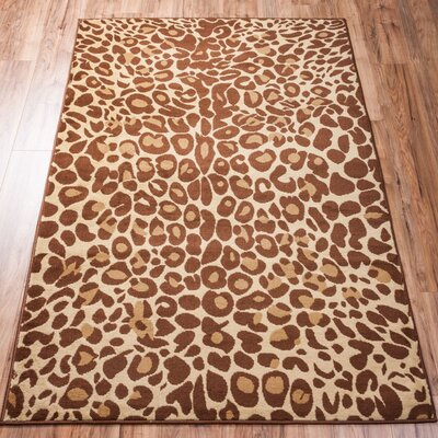 Emeline Cocoa Leopard Brown Animal Print Area Rug Rug Size: 3'3