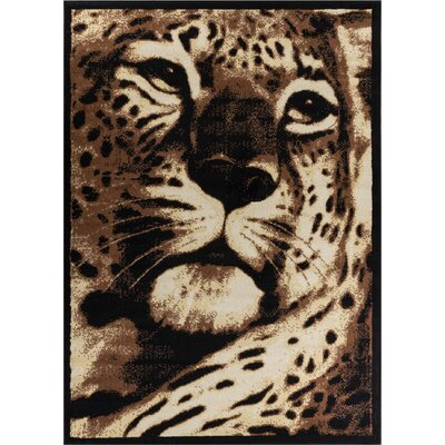 Emeline Leopard Black Animal Print Area Rug