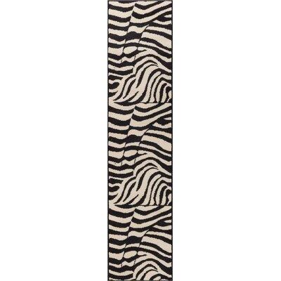 Emeline Zebra Black/White Animal Print Area Rug Rug Size: 311 x 53