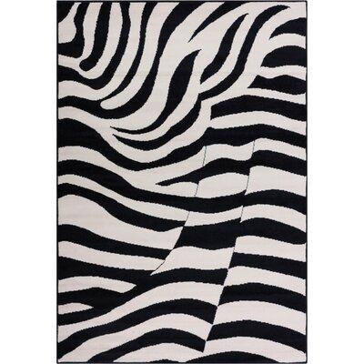 Annahda Zebra Black/White Animal Print Area Rug Rug Size: 33 x 5