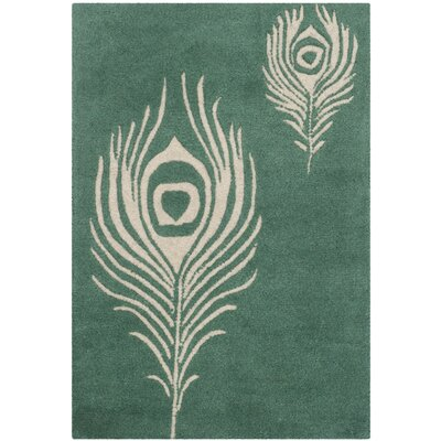 Dorthy Teal / Ivory Contemporary Rug Rug Size: Rectangle 36 x 56