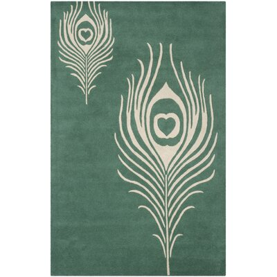 Dorthy Teal / Ivory Contemporary Rug Rug Size: Rectangle 76 x 96