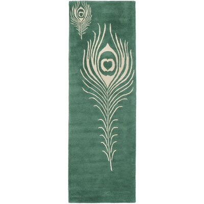 Dorthy Teal / Ivory Contemporary Rug Rug Size: Runner 23 x 8