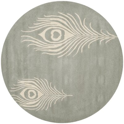 Dorthy Grey / Ivory Contemporary Rug Rug Size: Round 8