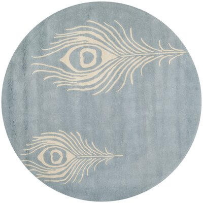 Dorthy Light Blue / Ivory Contemporary Rug Rug Size: Round 6