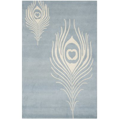 Dorthy Light Blue / Ivory Contemporary Rug Rug Size: 76 x 96