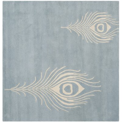 Dorthy Light Blue / Ivory Contemporary Rug Rug Size: Square 6