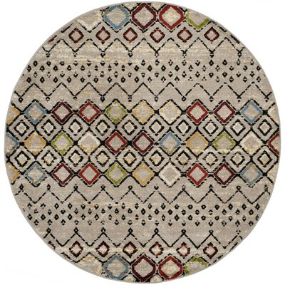 Hedley Light Gray Area Rug Rug Size: Round 67