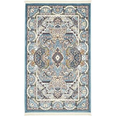 Amrane Blue/Tan Area Rug Rug Size: 3 x 5