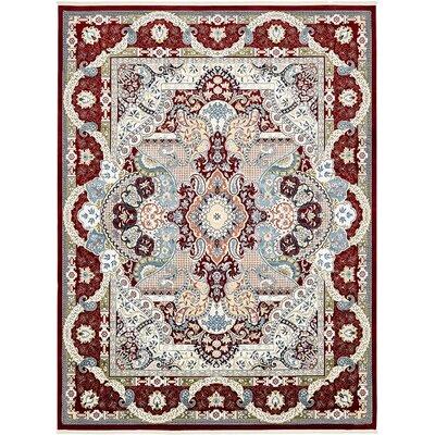 Jadyn Burgundy/Tan Area Rug Rug Size: 5 x 8