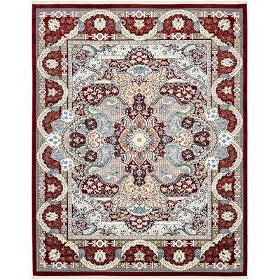 Jadyn Burgundy/Tan Area Rug Rug Size: 10 x 13