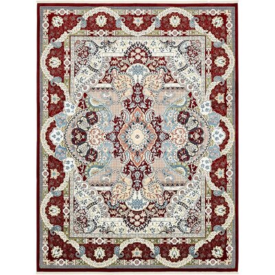 Amrane Burgundy/Tan Area Rug Rug Size: Rectangle 3 x 5