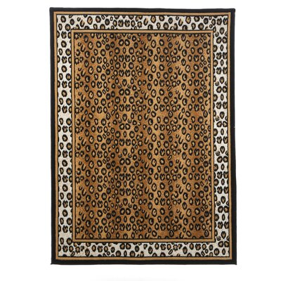 Kaly Leopard Brown Area Rug Rug Size: 37 x 53