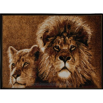 Kaly Lion Brown Area Rug Rug Size: 53 x 75