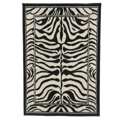 Kaly Zebra Print Ebony Area Rug Rug Size: 37 x 53