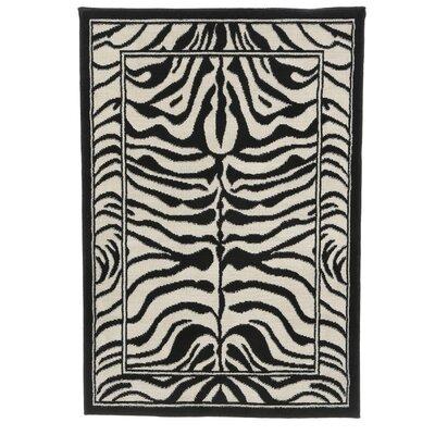 Kaly Zebra Print Ebony Area Rug Rug Size: 53 x 75