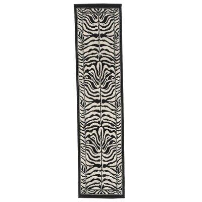 Kaly Zebra Print Ebony Area Rug Rug Size: Runner 110 x 73