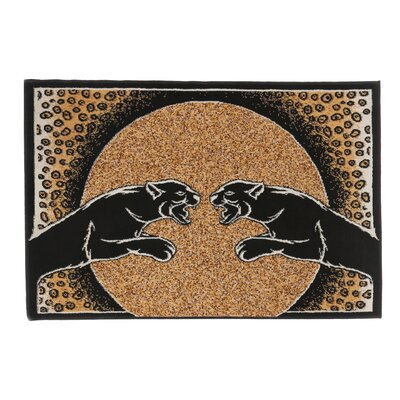 Kaly Panther Animal Print Brown Area Rug Rug Size: 37 x 53