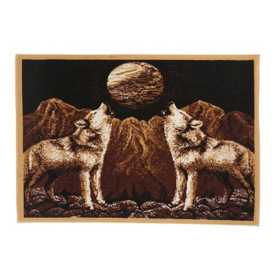 Durostar Howling Wolves Novelty Brown Area Rug Rug Size: 53 x 75