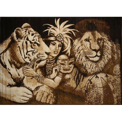 Kaly Indian Tiger and Lion Novelty Brown Area  Rug Rug Size: 53 x 75