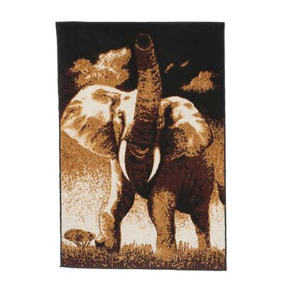 Durostar Elephant Novelty Brown Area Rug Rug Size: 53 x 75