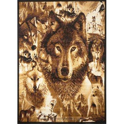 Kaly Wolves Novelty Brown Area Rug Rug Size: 52 x 74