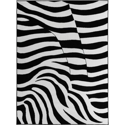 Euan Zebra Animal Print Black/White Area Rug Rug Size: 53 x 73
