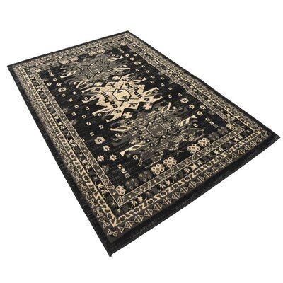 Valley Black Area Rug Rug Size: 6 x 4