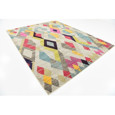 Broadway Beige/Yellow Area Rug Rug Size: 8 x 10